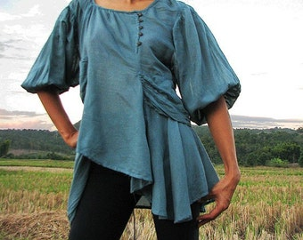 Ballerina.. Blouse...Blue mix silk (M) Boho and funky available in all colour ..