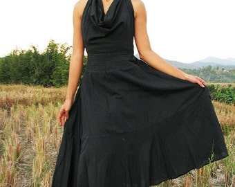 If I could maxi dress...Black...cotton/Mixsilk 1 dress 10 ways to wear, M,L and XL
