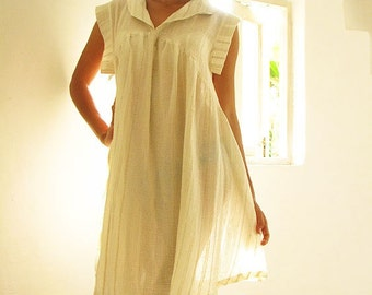 Zoe dress...Cream natural Linen/cotton blend