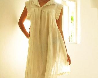 Zoe dress...Cream natural Linen/cotton blend  (fits S-XL)
