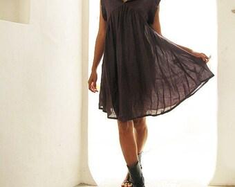 Zoe dress...Dark Plum Linen/cotton blend