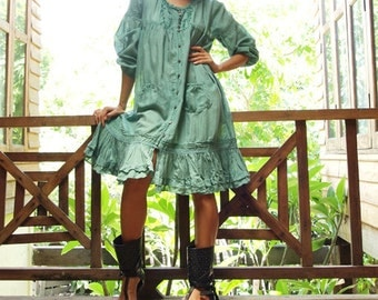 Padma dress...Mixed silk Mint green( M,L)