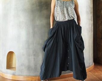 Helen Skirt/ Pants...Black cotton convertible (S-XL)