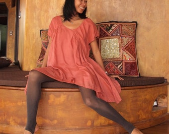 Shine tunic/Dress...Mix silk Peach (one size fits M-XL)