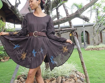 Artistic collection...Sarah dress long sleeve Brown (M,L,XL)