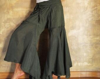 Enchanted pants...Dark green mix silk M,L,