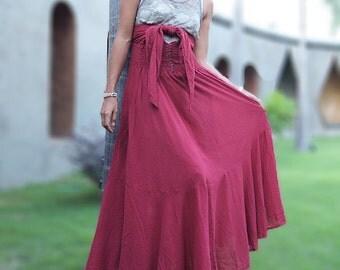 If I could maxi dress...Deep red mix silk...1 dress 10 ways to wear (M-XL)