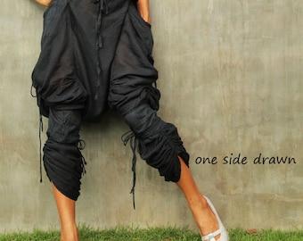 Heather Pants...Black mix silk Streampunk (one size fit upto L)(1117)