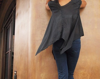30 USD Sale Lise Asymmetric blouse...Black mix silk (S-L)(1428)