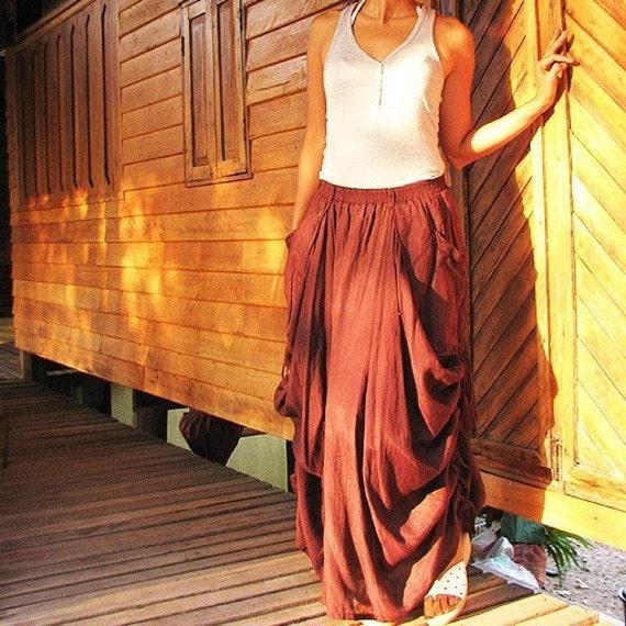 Helen Skirt...Rustic Brown mix silk (S-XL)