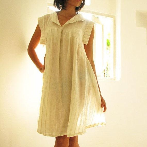 Zoe dress...Cream natural Linen/cotton blend