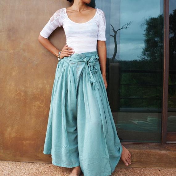 Wild side pants...Mint mix silk  (S-L)