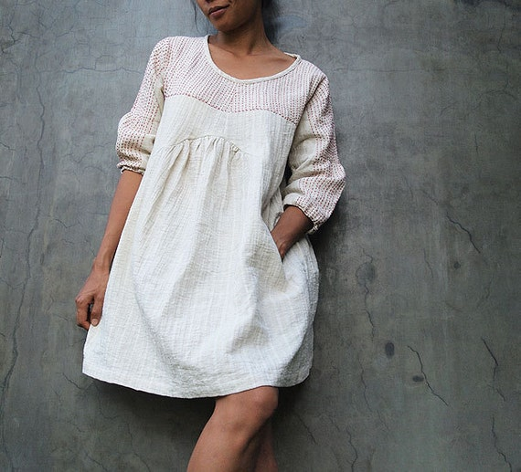 Tone poem...100% cotton,  Ivory dress with hand stitches detail (1402)