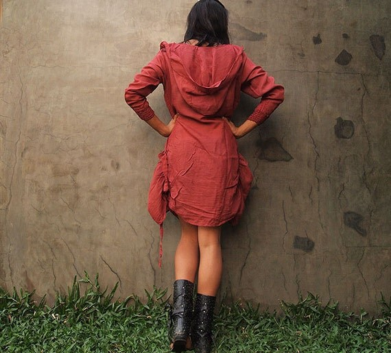 Mystical night dress... Rose red mix silk (S-L)
