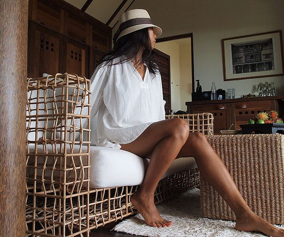 Vacation...Rest... White lounge cotton shirt   (One size)