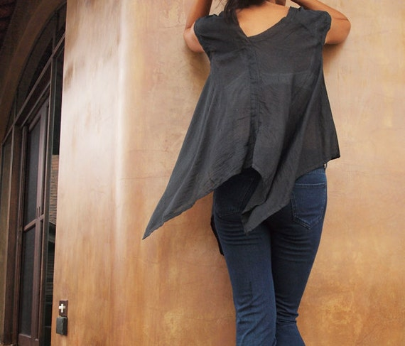30 USD Sale Lise Asymmetric blouse...Black mix silk (S-L)(1428)