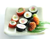 Miniature foods, Japanese Sushi dish Clay Crafts