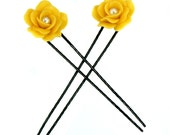 Miniature Roses Hair Pin Polymer Clay Jewelry, Handmade Gifts for Her