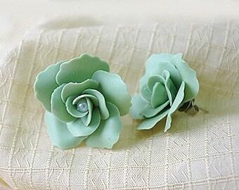 Miniature Handmade Polymer Clay Dazzling Rose Earrings 1 pair