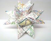 Moravian Star Ornaments - Set of 5 - Recycled Map