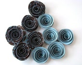 Spiral Paper Roses - Set of 10 in Brown and Blue - OrigamiDelights