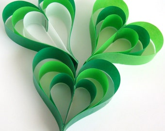 Hanging Paper Hearts - Shades of Green - Set of 3