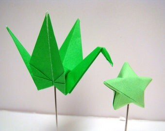 Party Picks - Origami Cranes and Stars - Set of 25 in Green