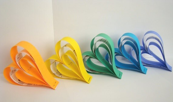 Hanging Paper Hearts - Rainbow of colors with Recycled Sheet Music Accents - Set of 6