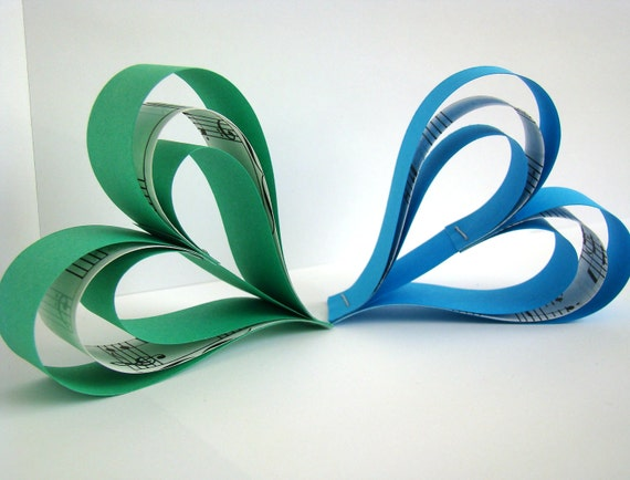 Hanging Paper Hearts - Green and Blue with Music Sheet Accents- Set of 6