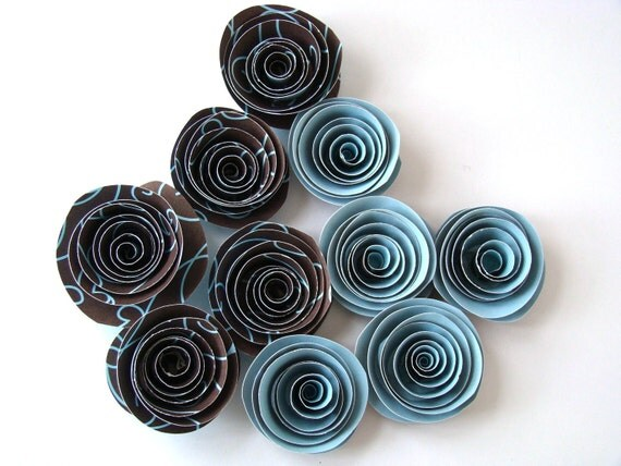 Spiral Paper Roses - Set of 10 in Brown and Blue