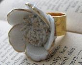 Snow Blossom . Ring with Vintage Porcelain Flower