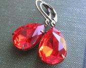 Orange Jewel Earrings . Red Earrings . Light Siam Jewel Earrings . Estate Style - Lucy