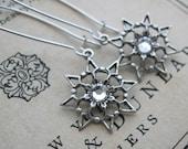 Snowflake Earrings . Antiqued Silver Filigree Snowflake Jewel Earrings. Crystal Clear Jewels . Winter . First Snow