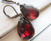 Black Diamond and Ruby Jewel Earrings . Red and Grey . Old Hollywood - Ava Gardner