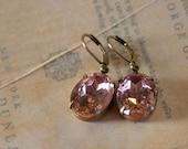 Light Pink Earrings Vintage Classic Hollywood Estate Earrings - Feminine Romantic - Betty Grable