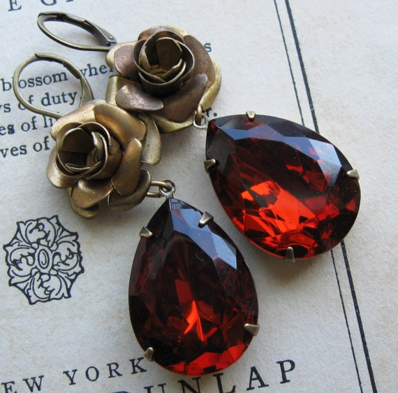 Burgundy Maroon Madeira Wine Topaz Brass Roses Classic Hollywood Estate Earrings . Vintage Jewels - Fay Wray