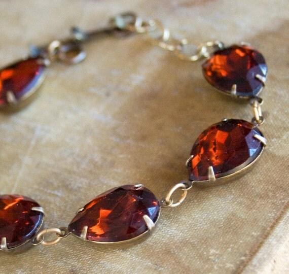 Burgundy Bracelet . Madeira Topaz . Old Hollywood Estate Style Bracelet - Fay Wray- FREE SHIPPING SALE