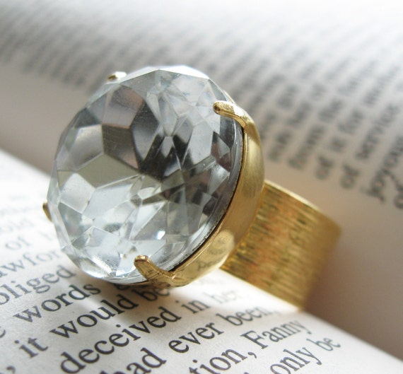 Crystal Clear Classic Hollywood Estate Jewel Gold Plated Cocktail Ring . Diamond Glass - Audrey Hepburn- FREE SHIPPING SALE