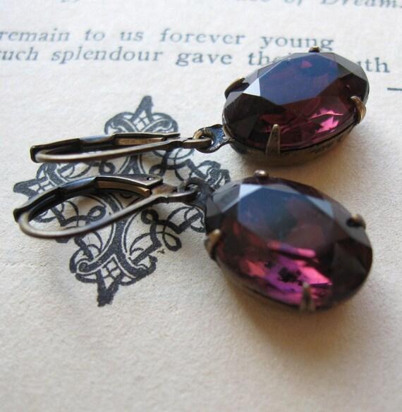Dark Purple Jewel Earrings . Amethyst Earrings . Estate Style Jewelry - Ingrid