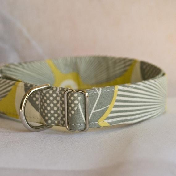 Grey and Yellow Medley Handmade Dog Collar