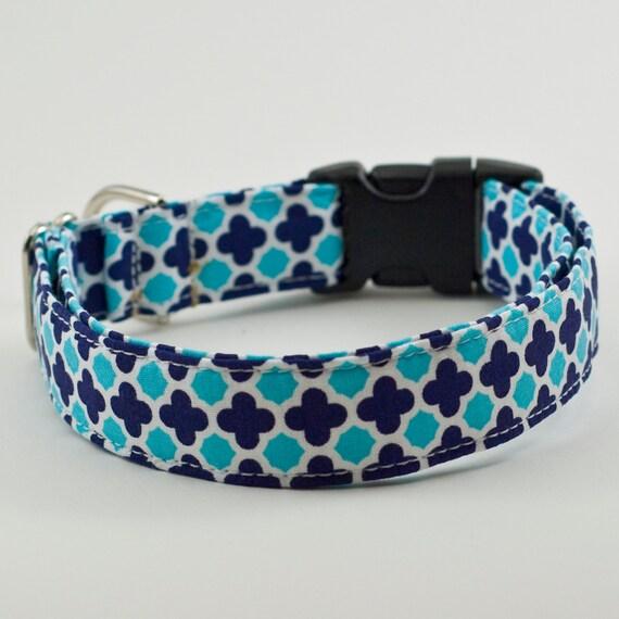 Geometric Blue Handmade Dog Collar