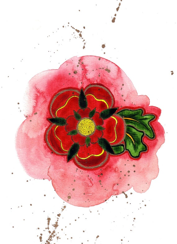 English Rose Water Colour.  Limited Edition Print