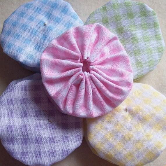 Pastel Gingham Check HandMade 2-inch YO YO pink blue yellow green purple baby pastels 10 fabric yoyo pieces