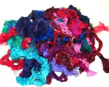Silk Fabric Remnants for felting, spinning, rug hooking and other fiber arts, 4 oz