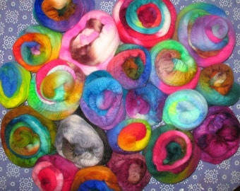 Wool Fiber Top - Hand-Dyed Sampling of Wooly Cupcakes, 1 lb - SPRING CLEANING SALE