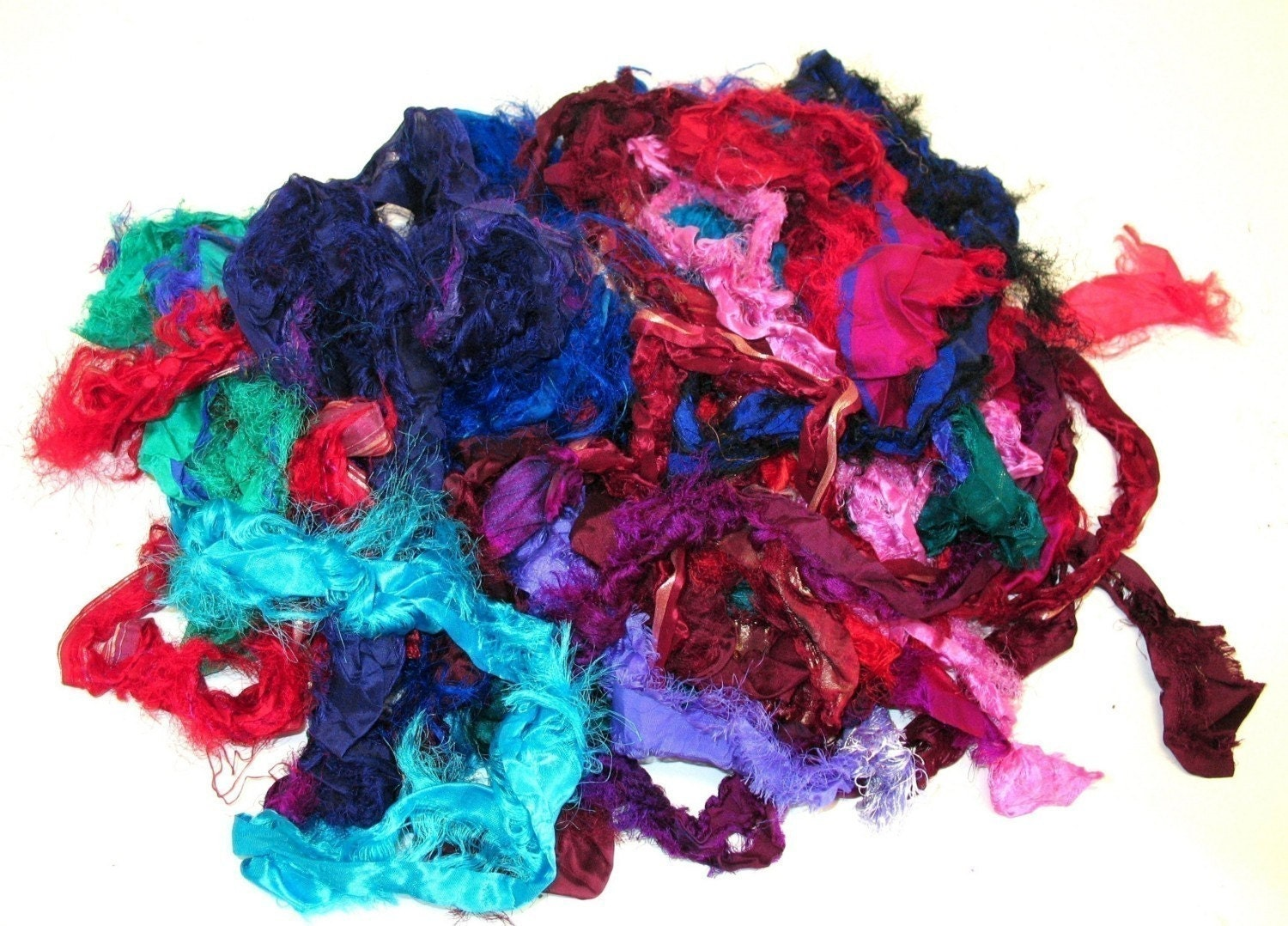 Silk fabric remnants for felting spinning rug hooking and for Fabric remnants