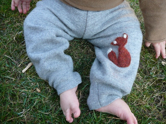 Reserved for Vera - Wool Kid's Pants - Woodland Sparrows - Size 18 m - Grey with Red Fox - Forest Friend