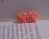 Orange rose post earrings
