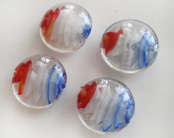 20mm Red White and Blue lampwork glass puff coin round beads - 4pcs