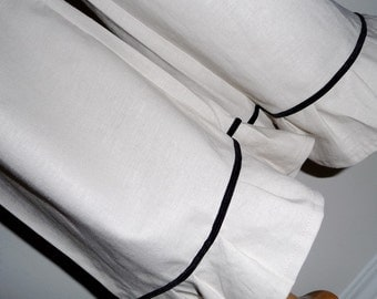 Ruffle with Velvet trim Samurai PANTS - Linen Mix - Made in ANY Size - Boutique Mia